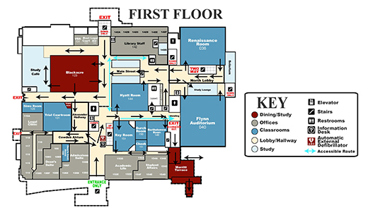 Diagram of the first floor of the law school building with arrows indicating one-way traffic.