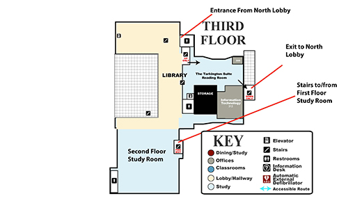 Diagram of the third floor of the law school building with arrows indicating one-way traffic.