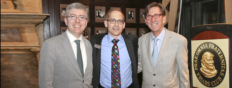 New York Friars Club: Featured speaker Professor Dan Sharfstein, Dean Chris Guthrie and host Jim Cuminale '78