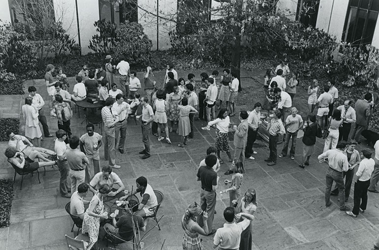 Blackacre, a longstanding VLS tradition as this photo from the late 1970s attests, provides a casual social setting for students, faculty and staff to unwind on Friday afternoons after a busy week.  (Courtesy of Vanderbilt University Special Collections)