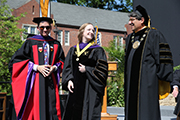 2015 Founders Medalist Robin Frazer with Dean Chris Guthrie and Chancellor Nicholas Zeppos