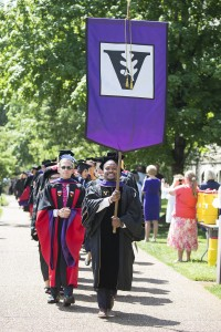 Vanderbilt Law School Commencement 2016 - Desmond Dennis leads the class of 2016 with Dean Chris Guthrie, Photo by Joe Howell