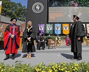 Founders Medalist Lauren Messonnier Meyers with Dean Chris Guthrie and Chancellor Nicholas Zeppos at Commencement 2016, Photo by John Russell