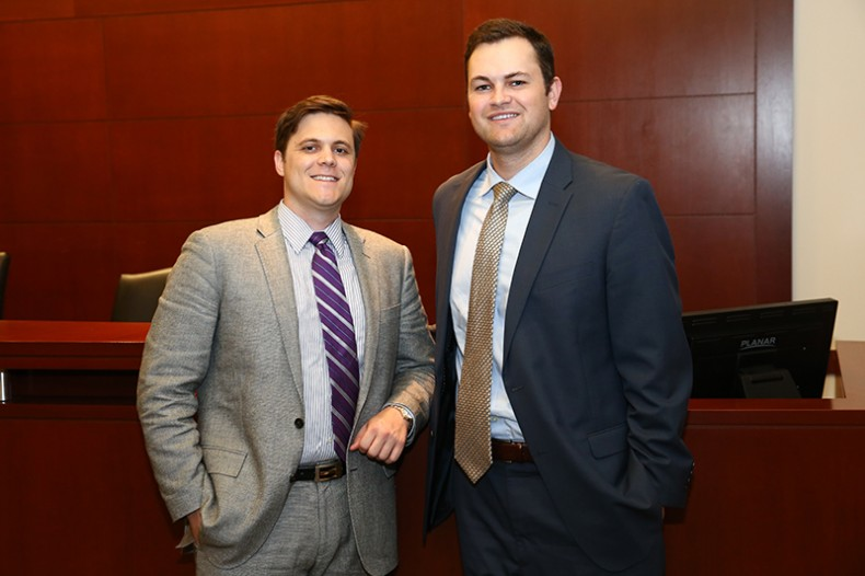 Joshua Foote and Steven Kyle Klansek both received Carl J. Ruskowski Clinical Legal Education Awards, Photo by Terry Wyatt