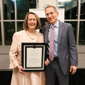 Tennessee Supreme Court Justice Cornelia Clark '79 with Vanderbilt Law Dean Chris Guthrie in 2018 at the Founders Circle Dinner where she was awarded the Distinguished Service Award.