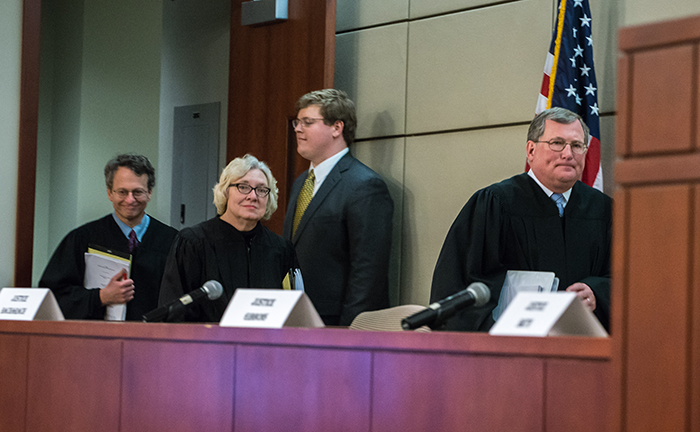 Judge Robert Bacharach, Judge Julia Smith Gibbons, who served as the round's Chief Justice, and Judge D. Brooks Smith
