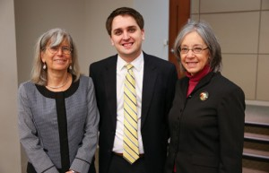 Professor Suzanna Sherry, Daniel Hay '15, and Chief Judge Diane Wood