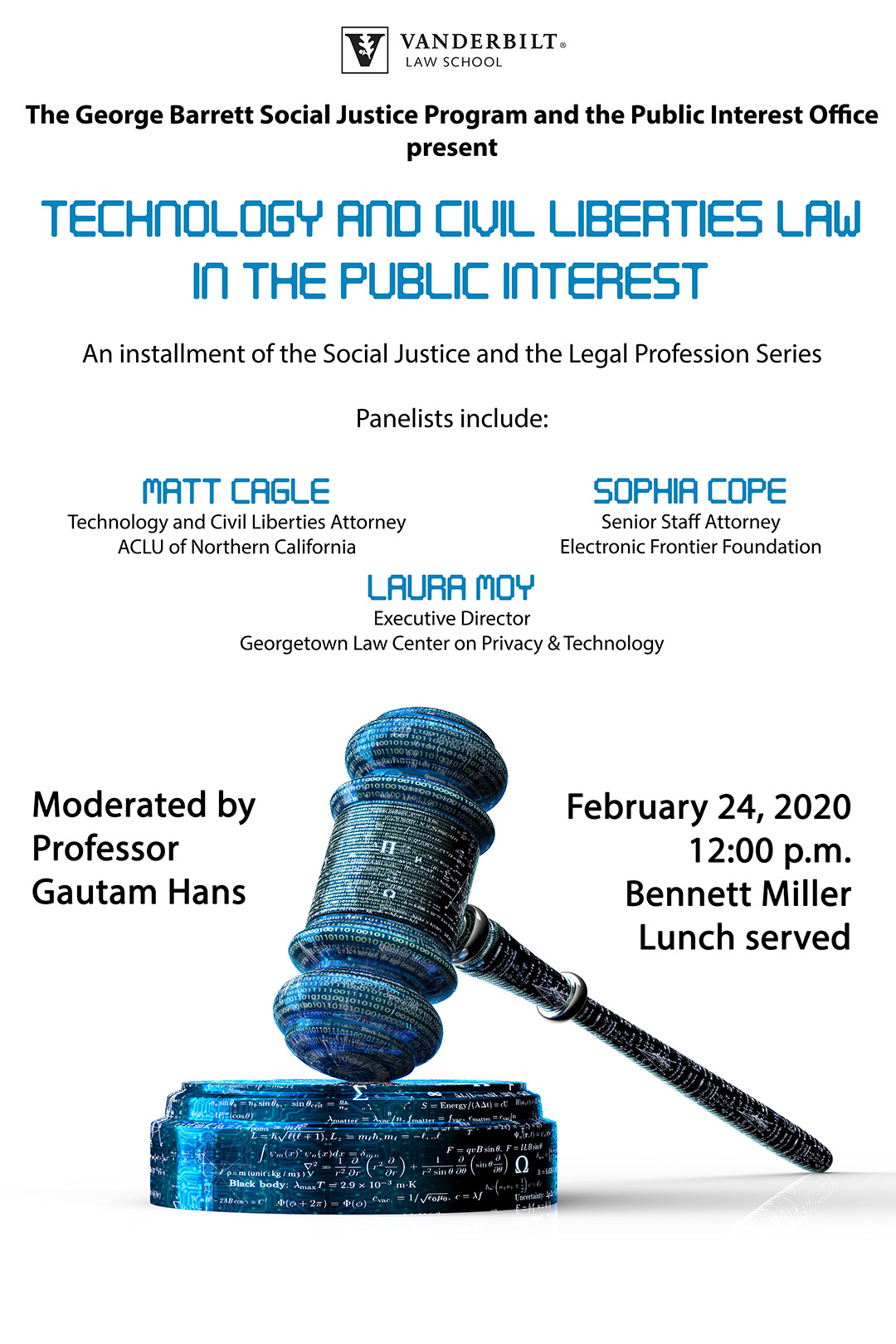 Image of event poster for social justice and the legal profession