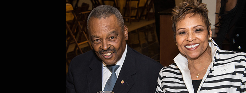 Walter '85 and Joyce (MS'78) Searcy enjoy an evening at the Black Law Students Association Alumni Event