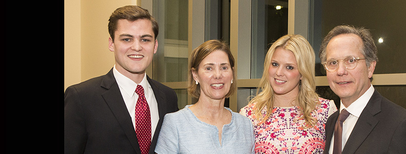 "Charles ""Chet"" Gerdts III '78 was posthumously honored with the Distinguished Alumnus Award, received here by his family and close friend Pat Mulloy '77 (BA'74)"